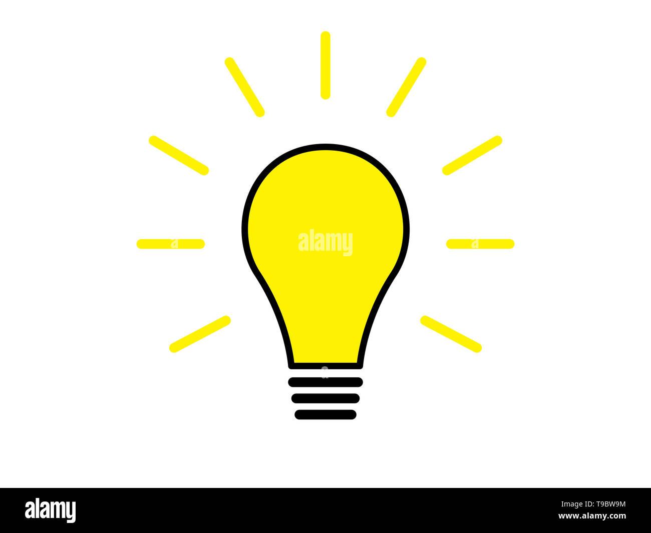 Light bulb shining illustration isolated on white background - Stock Image