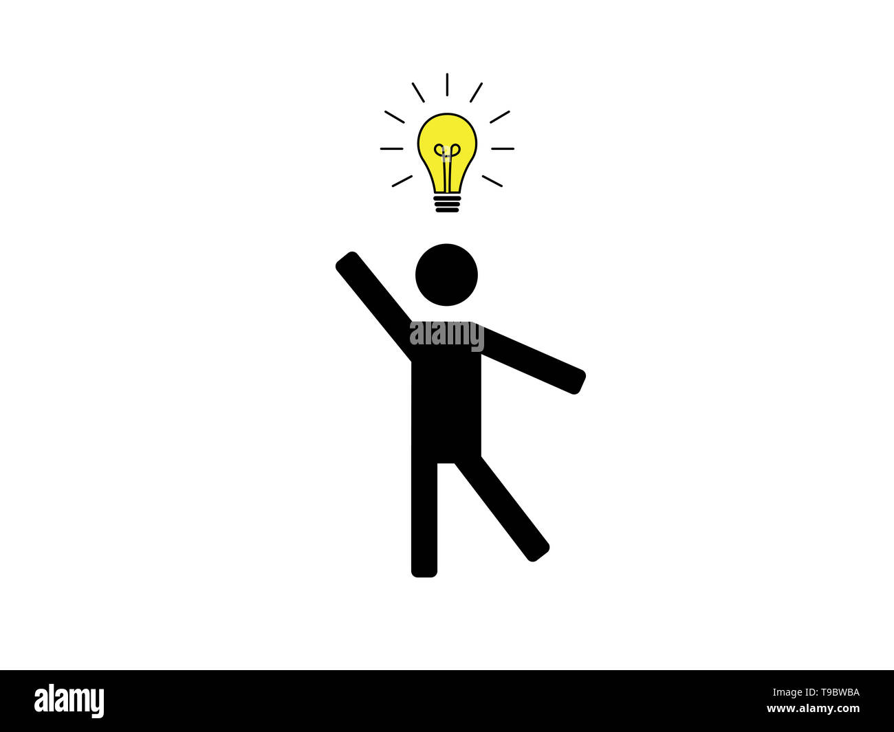 Person with idea illustration isolated on white background - Stock Image