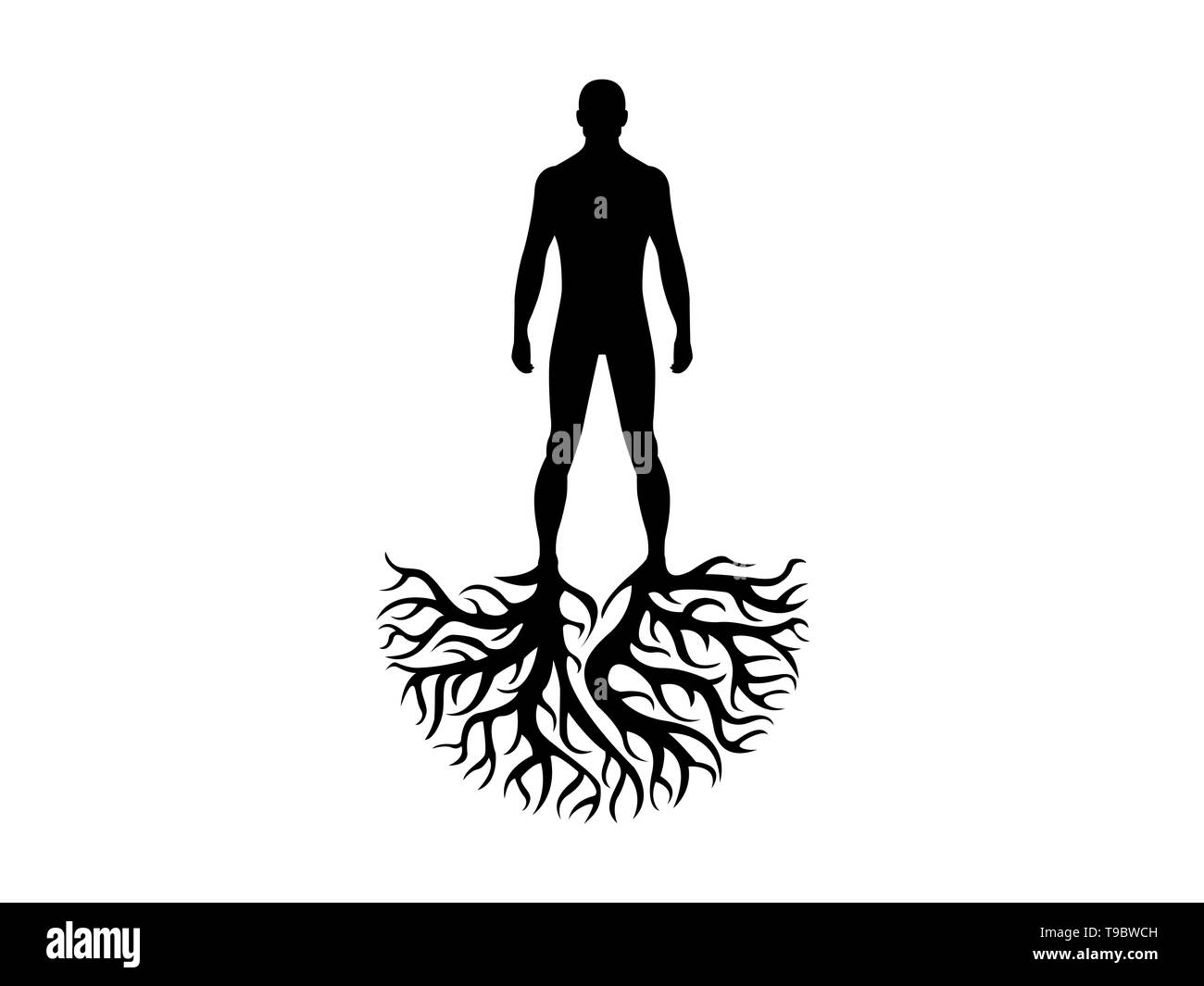 Person roots personality and heritage illustration isolated on white background - Stock Image
