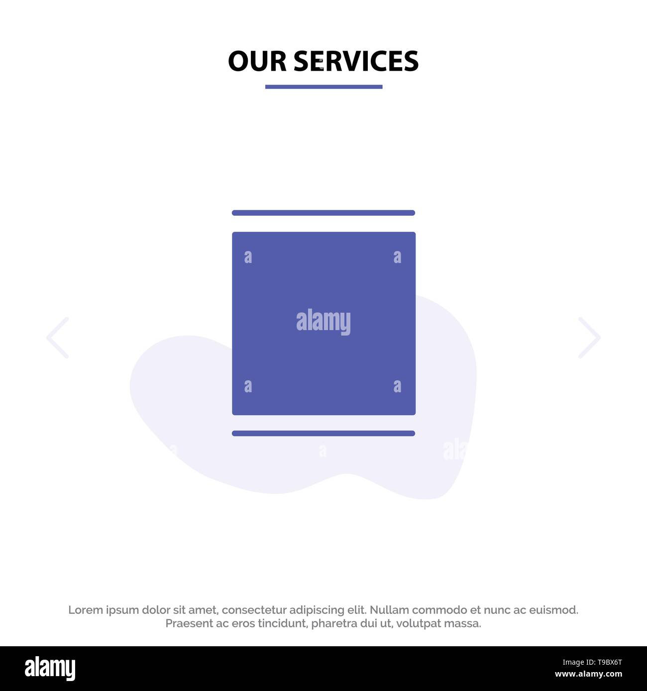 Our Services Gallery, Instagram, Sets, Timeline Solid Glyph Icon Web card Template - Stock Image