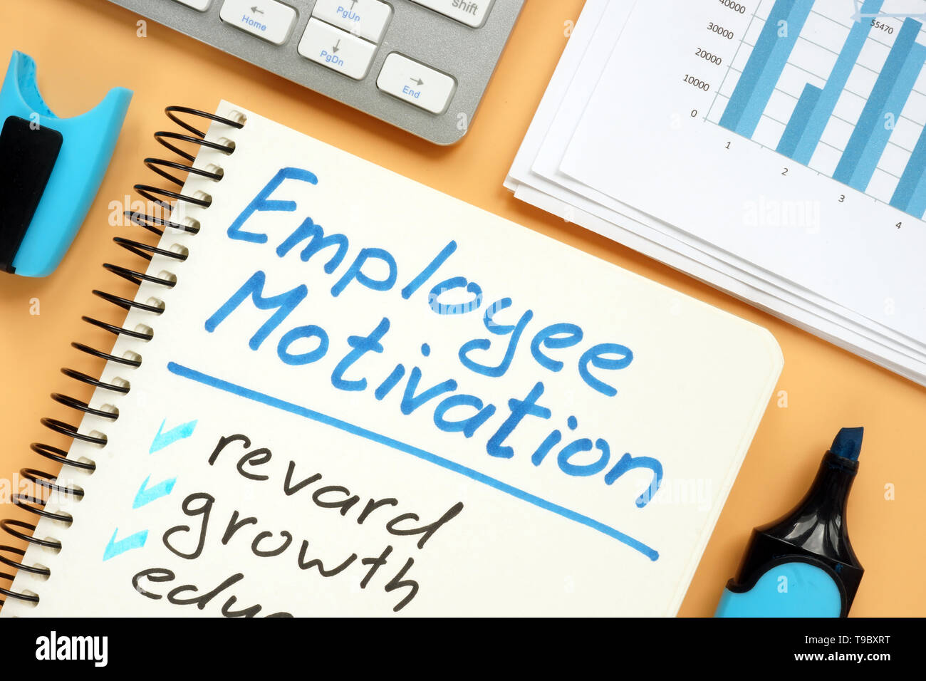 Employee motivation plan with words reward and growth. - Stock Image