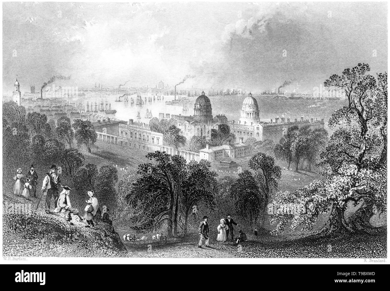 An engraving of London from Greenwich Park scanned at high resolution from a book published in 1842.  Believed copyright free. - Stock Image