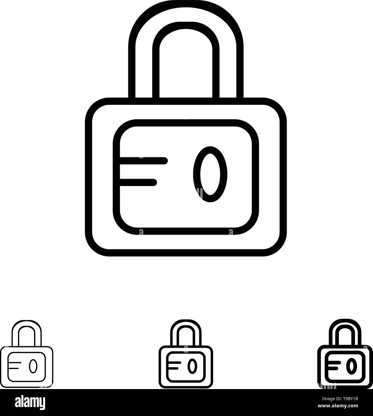 Lock, School, Study Bold and thin black line icon set - Stock Image