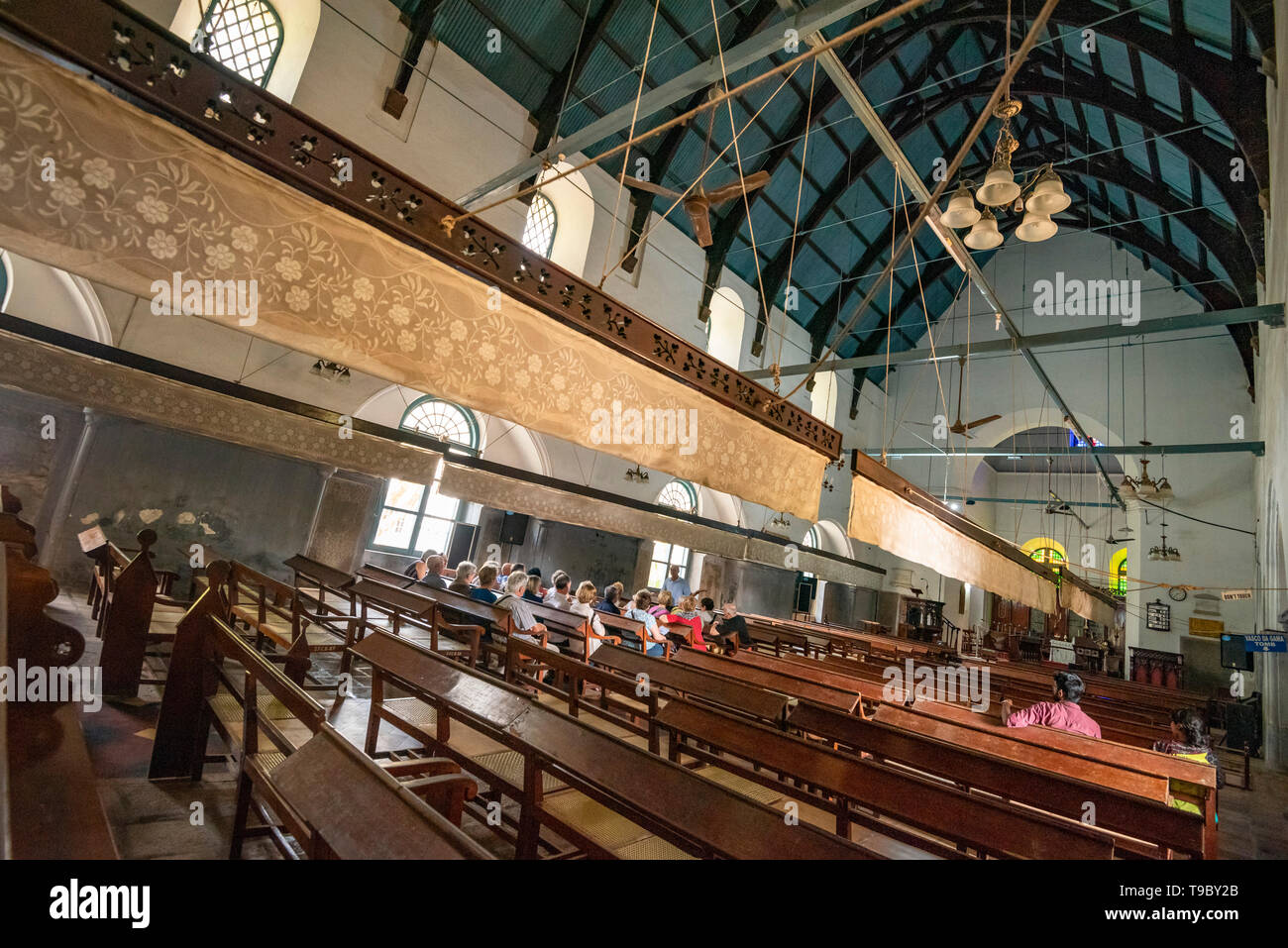 Horizontal interior view of St. Francis Church in Fort Kochi, India. - Stock Image