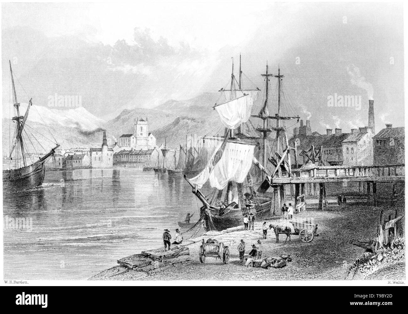 An engraving of Workington, Cumberland scanned at high resolution from a book published in 1842.  Believed copyright free. Stock Photo