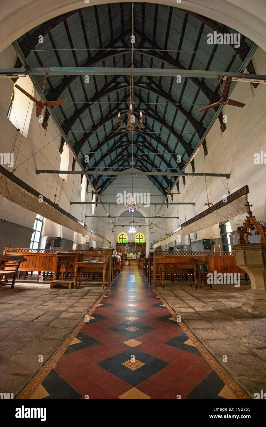 Vertical interior view of St. Francis Church in Fort Kochi, India. - Stock Image