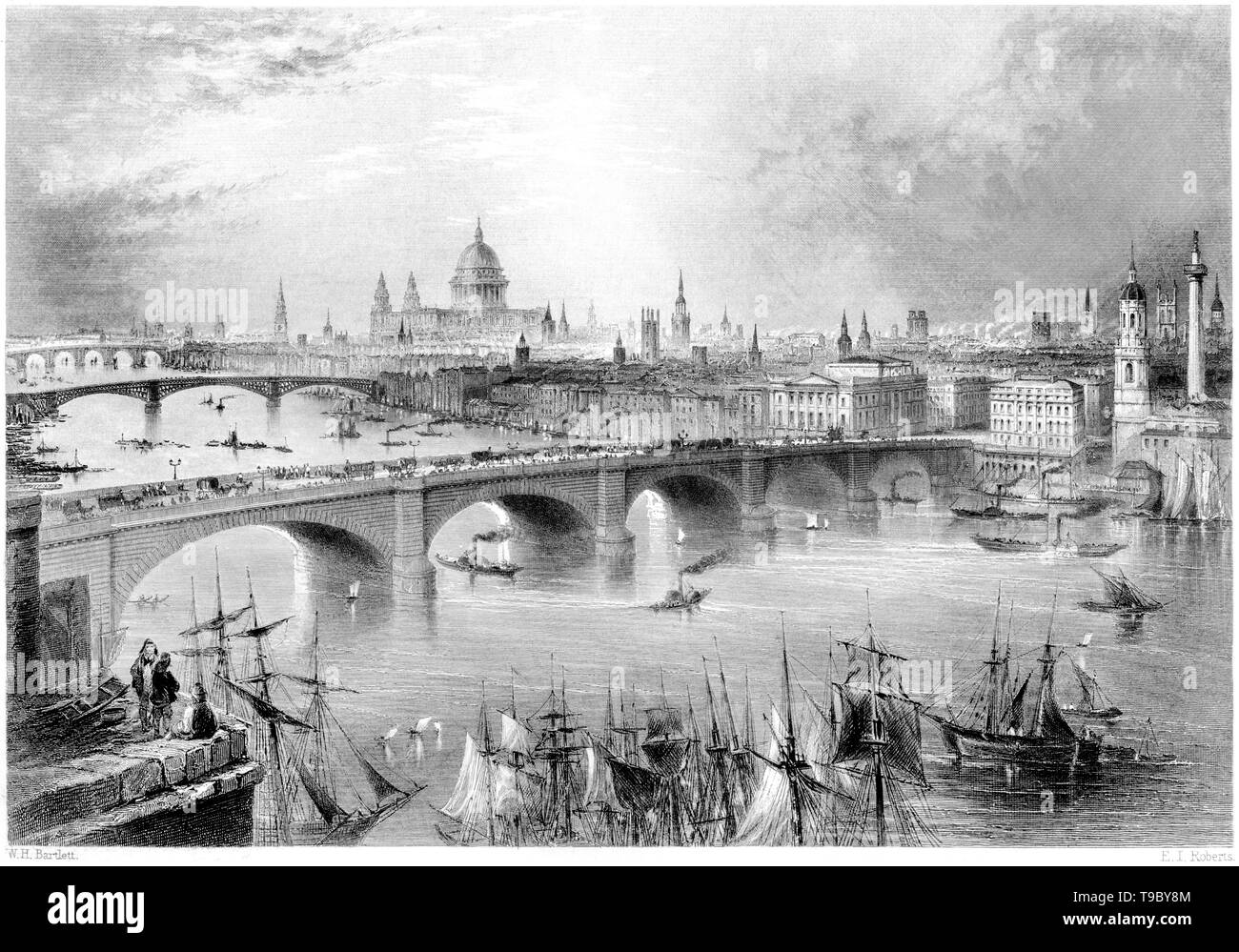 An engraving of a General View of London from the Southwark side scanned at high resolution from a book published in 1842.  Believed copyright free. - Stock Image