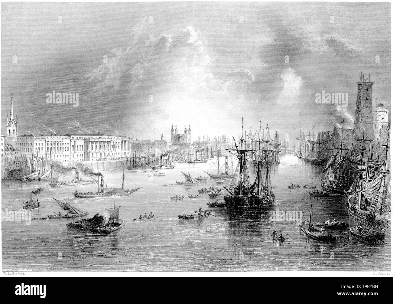 An engraving of the Port of London scanned at high resolution from a book published in 1842.  Believed copyright free. - Stock Image
