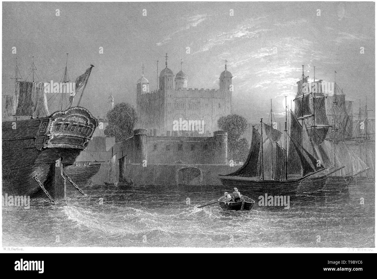 An engraving of the Tower of London scanned at high resolution from a book published in 1842. Believed copyright free. - Stock Image