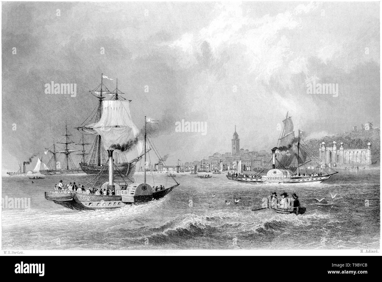 An engraving of Gravesend from the River scanned at high resolution from a book published in 1842.  Believed copyright free. Stock Photo