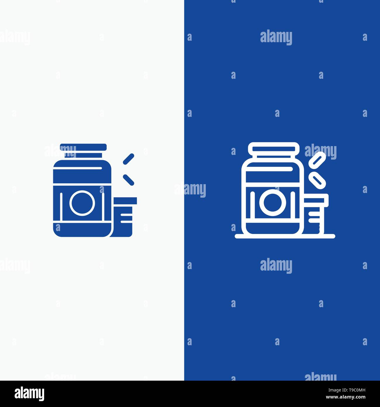 Bodybuilding, Gainer, Protein, Sports, Supplement Line and Glyph Solid icon Blue banner Line and Glyph Solid icon Blue banner - Stock Image