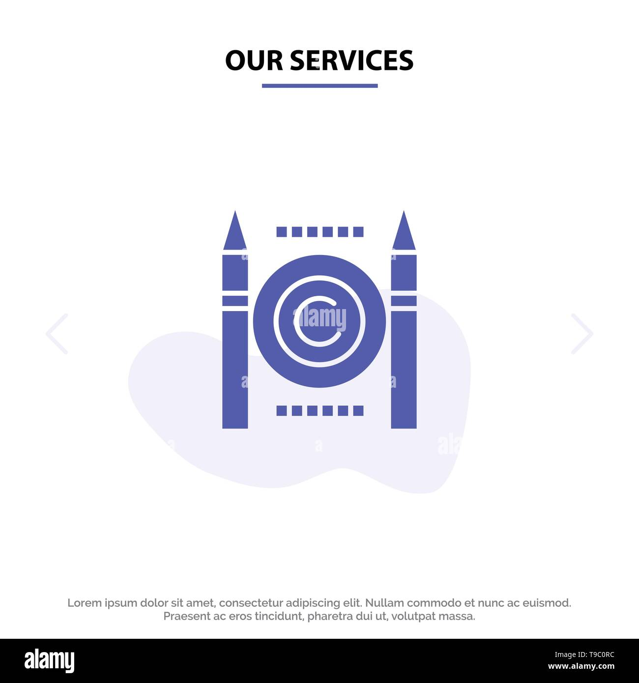 Our Services Business, Conflict, Copyright, Digital Solid Glyph Icon Web card Template - Stock Image