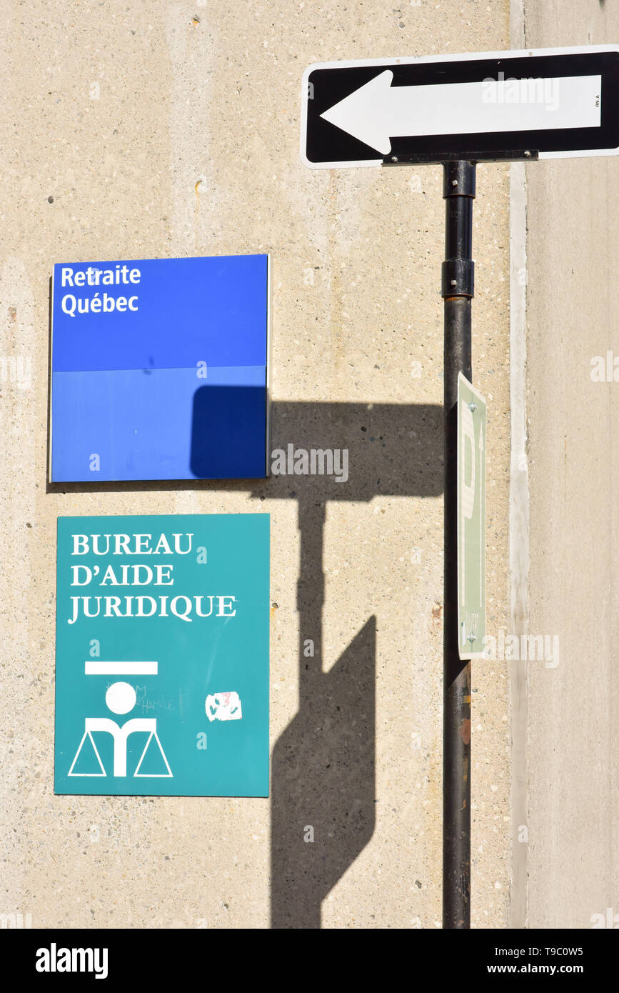 Signs in French , Montreal Canada - Stock Image