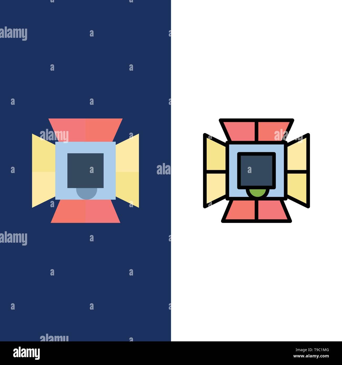 Illumination, Light, Lighting, Professional, Soft box  Icons. Flat and Line Filled Icon Set Vector Blue Background - Stock Image