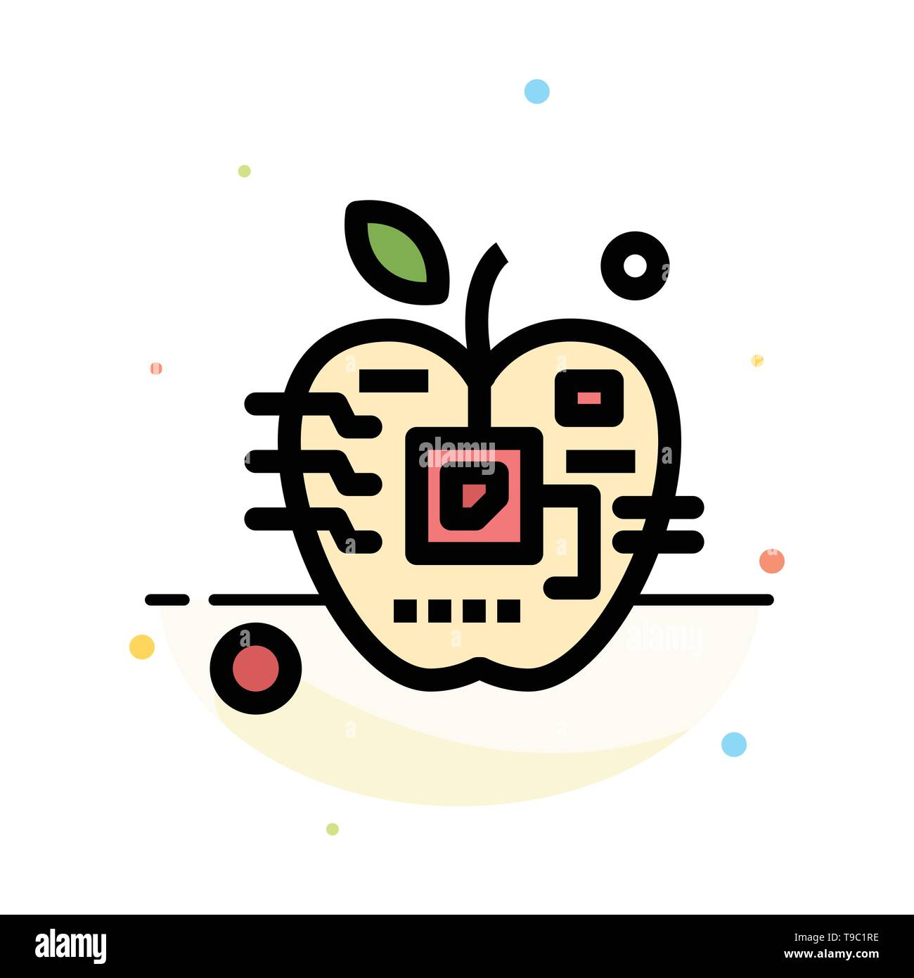 Apple, Artificial, Biology, Digital, Electronic Abstract Flat Color Icon Template - Stock Image