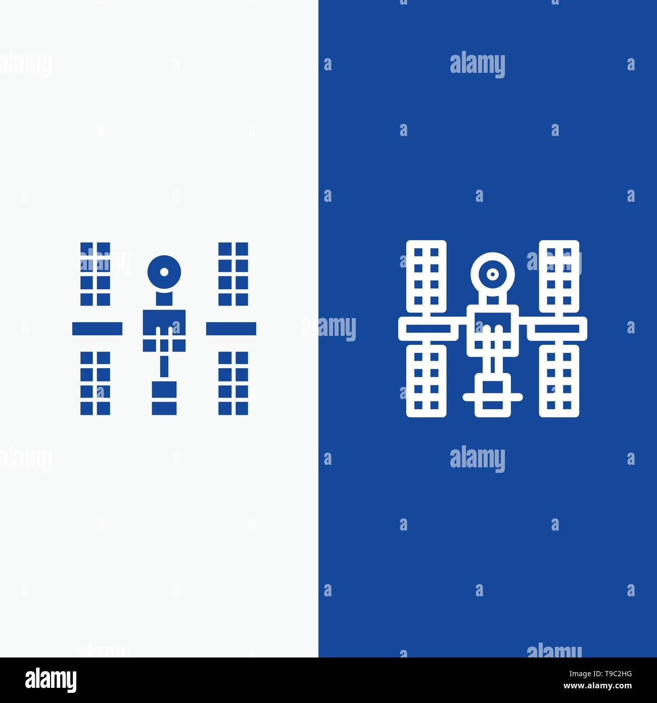 Complex, Orbital, Platform, Satellite, Space Line and Glyph Solid icon Blue banner Line and Glyph Solid icon Blue banner - Stock Image