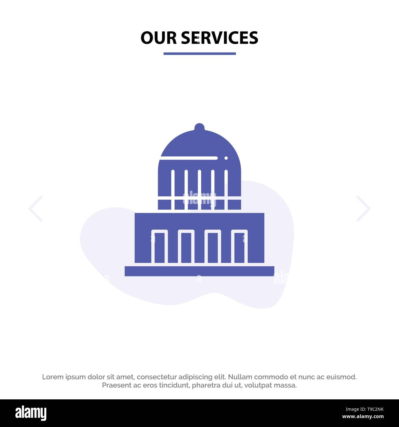 Our Services Building, City, Landmark, Usa Solid Glyph Icon Web card Template - Stock Image