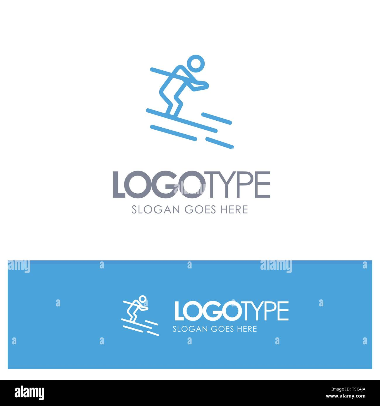 Activity, Ski, Skiing, Sportsman Blue outLine Logo with place for tagline - Stock Image