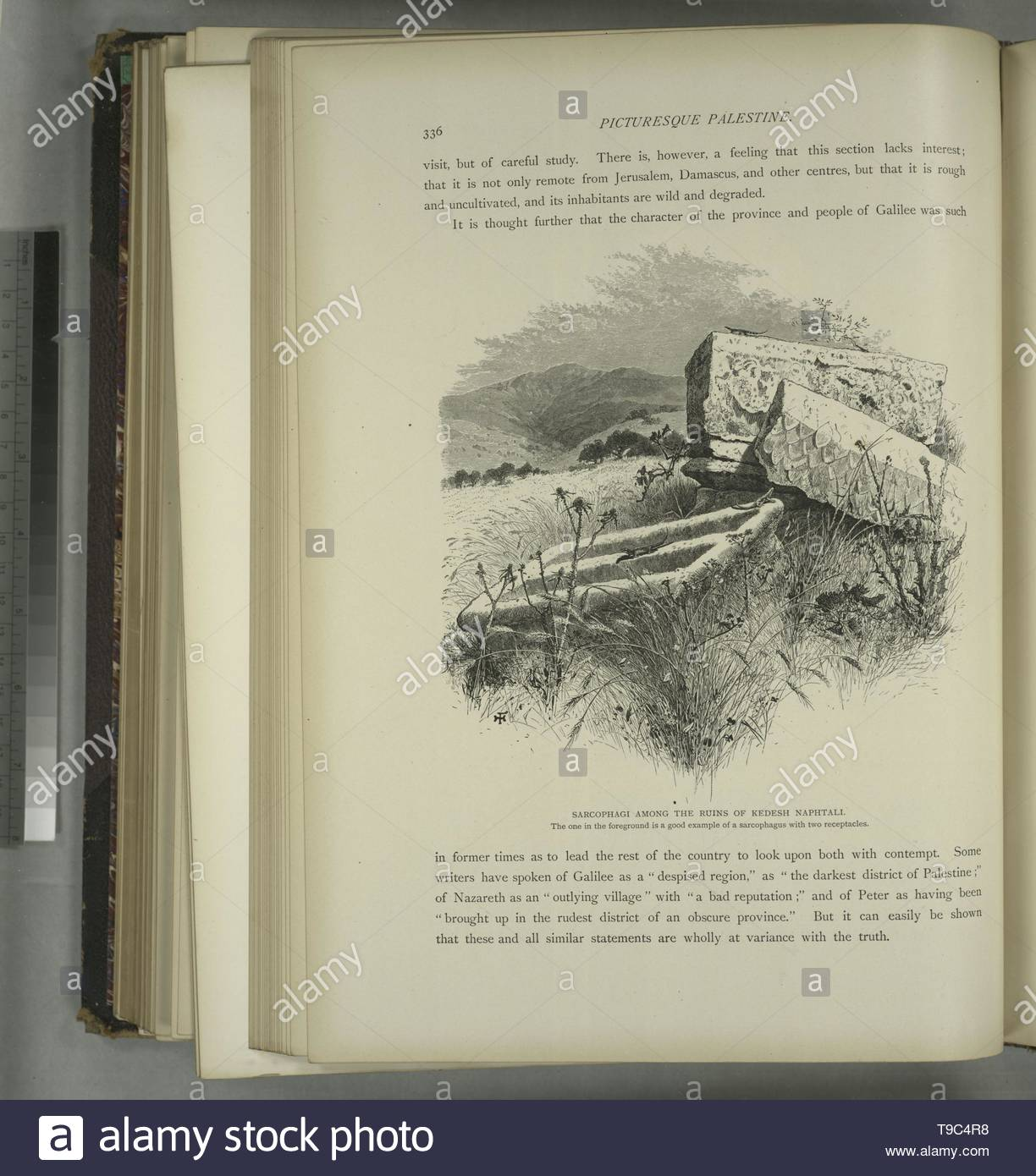 Fenn,Harry(1838-1911)-Sarcophagi among the ruins of Kedesh Naphtali   The one in the foreground is a good example of a sarcophagus with two receptacles - Stock Image