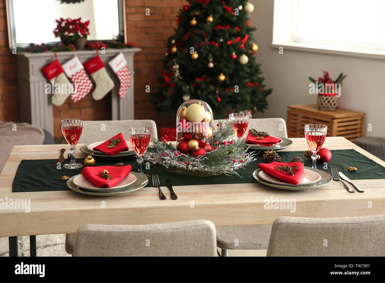 Beautiful Table Setting With Christmas Decorations In Living Room Stock Photo Alamy