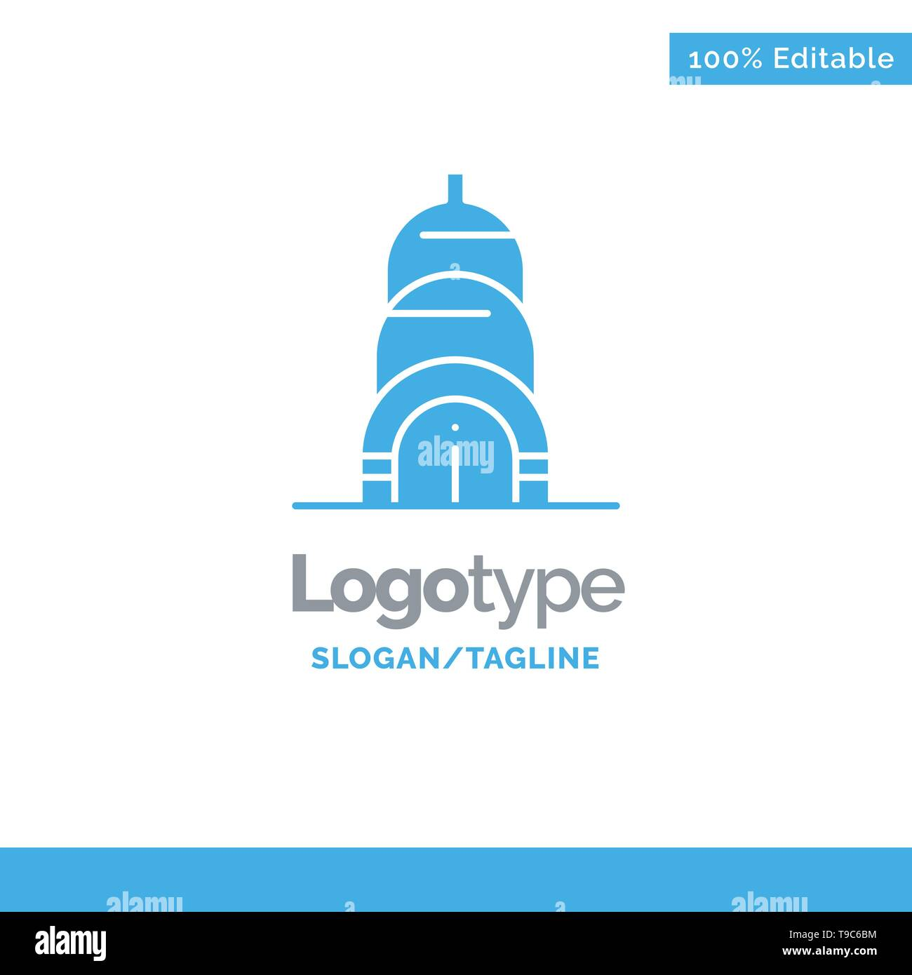 Chrysler, Building, Usa Blue Solid Logo Template. Place for Tagline - Stock Image