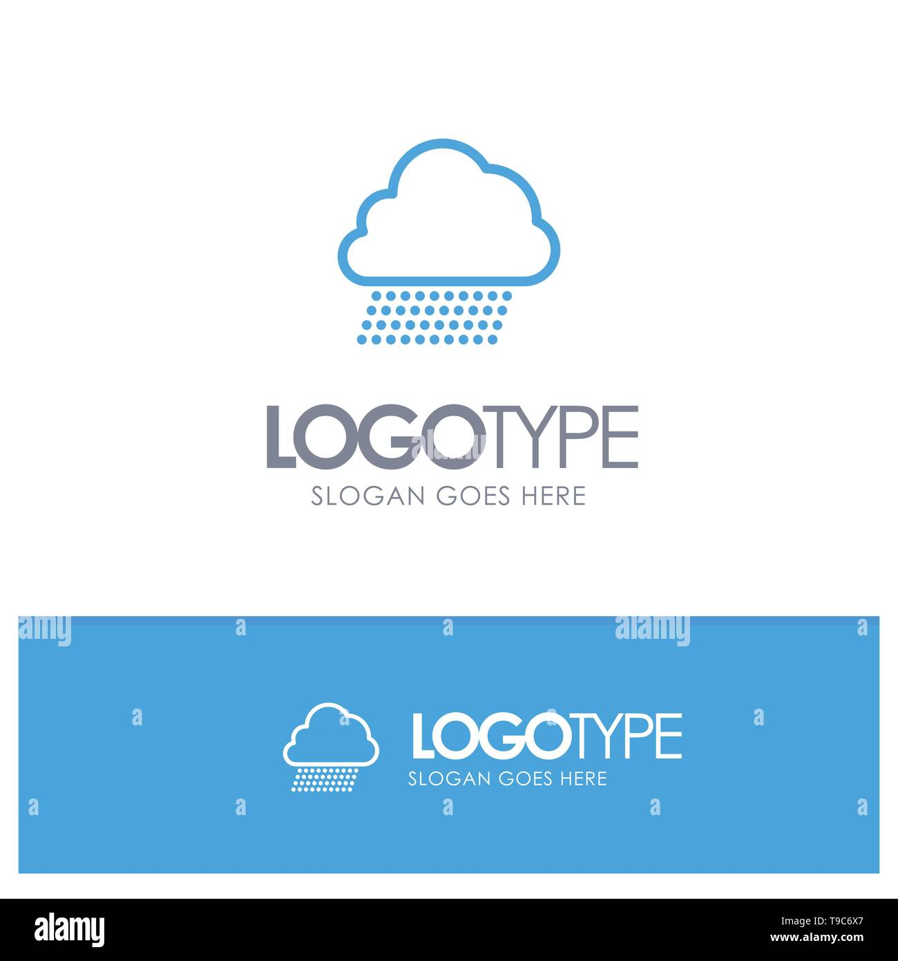 Sky Rain, Cloud, Nature, Spring Blue outLine Logo with place