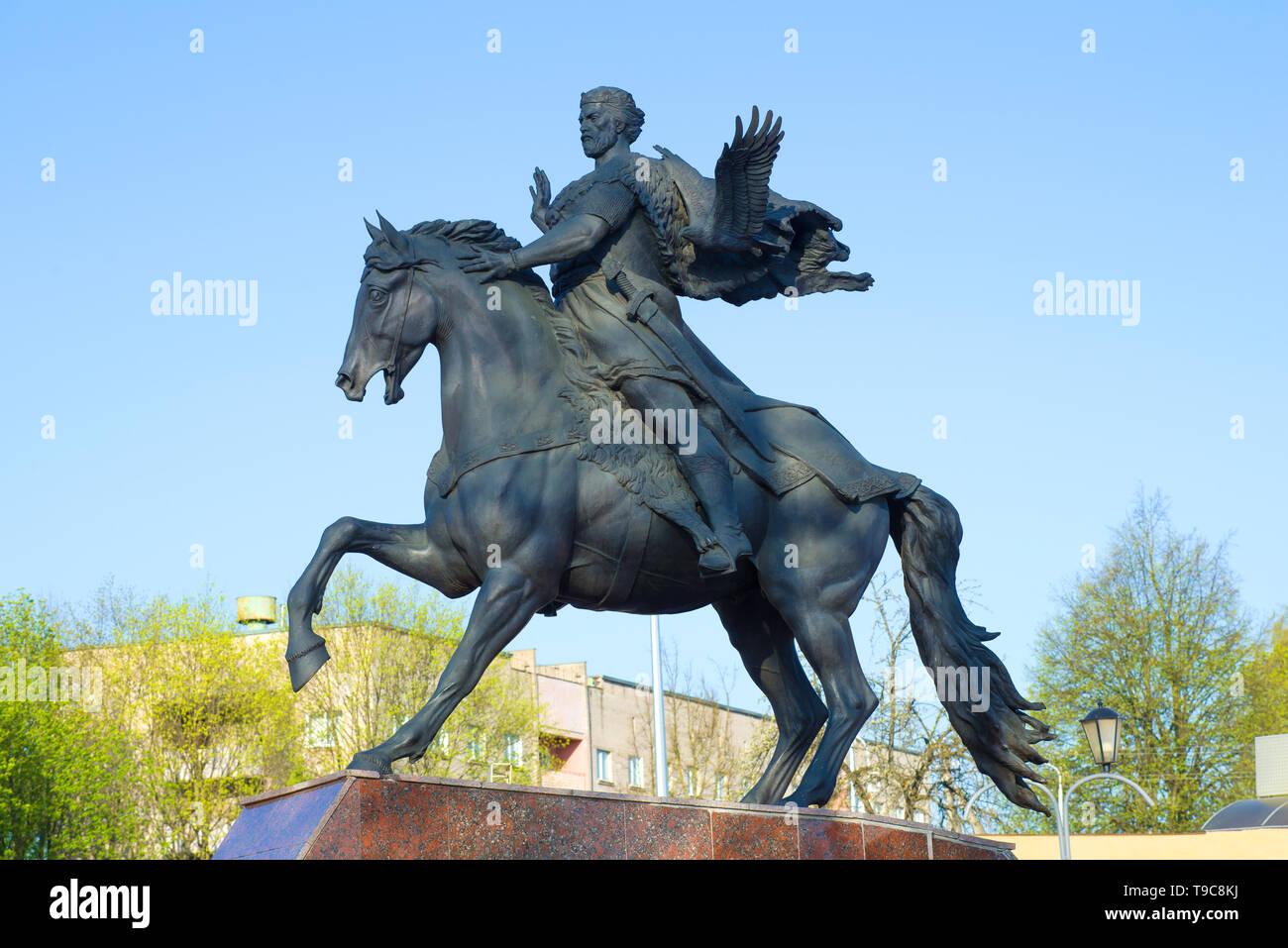 POLOTSK, BELARUS - APRIL 28, 2019: A sculpture of Prince Vseslav close-up against a blue sky - Stock Image