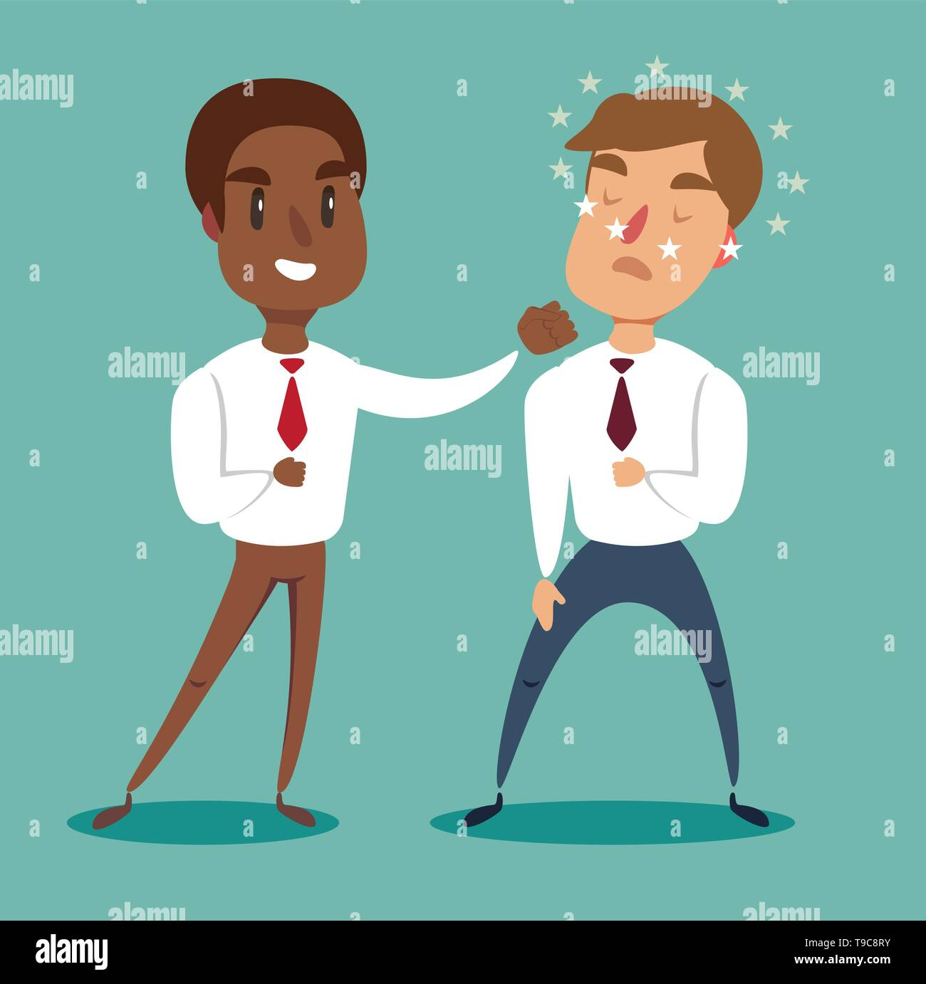 black african american businessman fighting against another businessman. Business competition concept. - Stock Vector