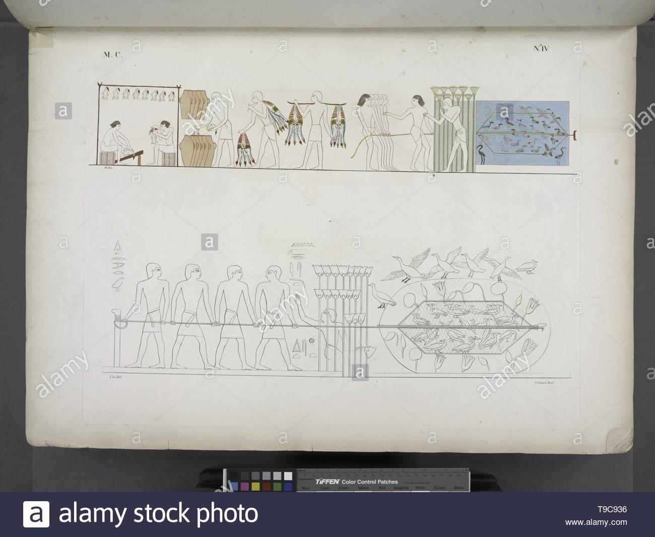 Lasinio,Carlo(1757-1839)-Due soggetti di caccia con le reti all& x27, oche e ad altri uccelli acquatici  Nel superiore gli uccelli presi si preparano e si mettono in sale - Stock Image