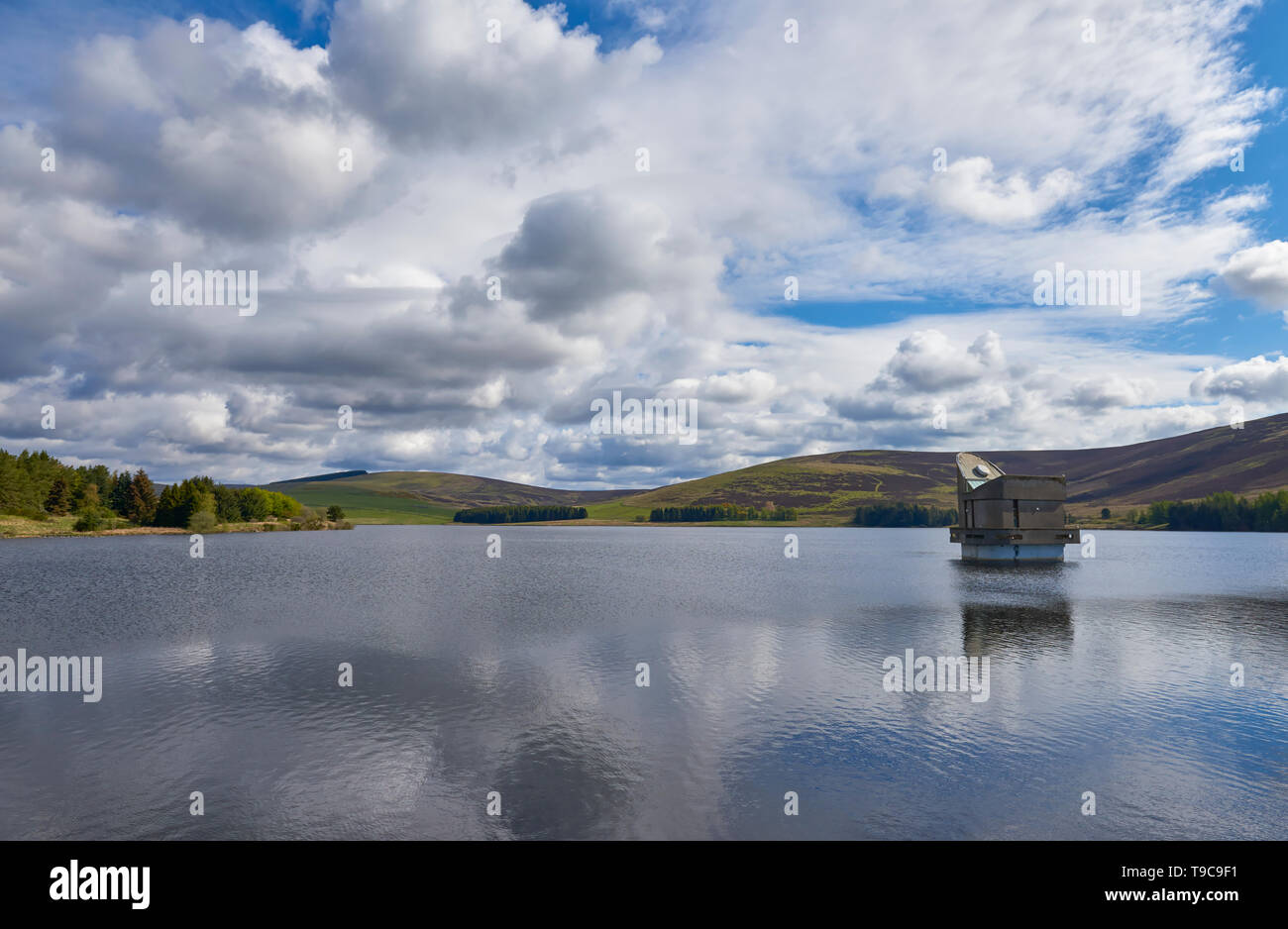 The Pumping House at Backwater Reservoir in Northern Angus, near to Kirriemuir, supplying water since 1969 to Angus. Scotland. - Stock Image