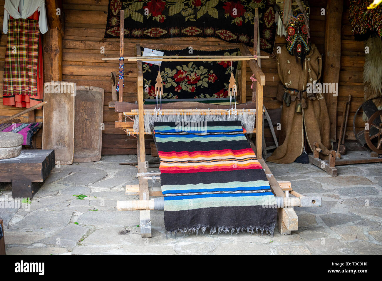 Ancient traditional bulgarian loom, wooden antic loom - Stock Image