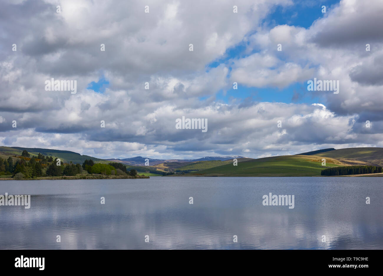 Looking up Glen Damff over the Backwater Reservoir in Glen Isla near Kirriemuir on a fine May morning. Angus, Scotland. - Stock Image