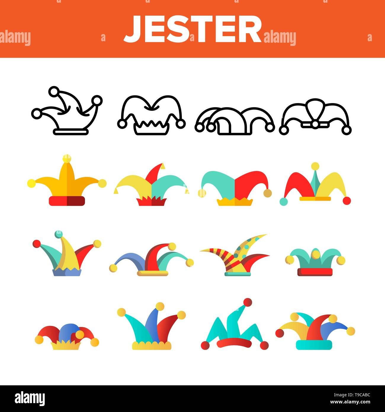 Funny Jester Hat Linear Vector Icons Set. Jester, Clown Caps with Bells Thin Line Contour Symbols Pack. Harlequin Costume Pictograms Collection. Circu Stock Vector