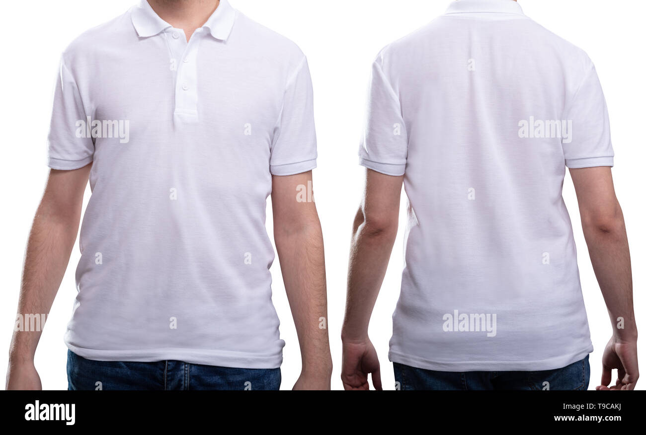 Front And Rear View Of A Man In White T-shirt - Stock Image