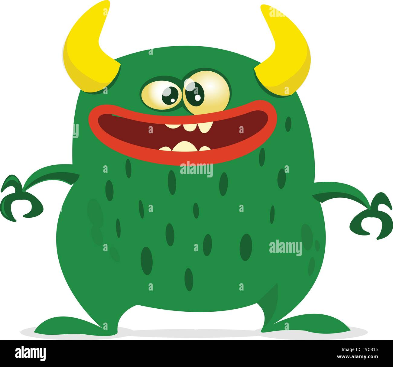 Cartoon vector monster. Monster alien illustration with surprised expression. Shocking green alien design for Halloween - Stock Image