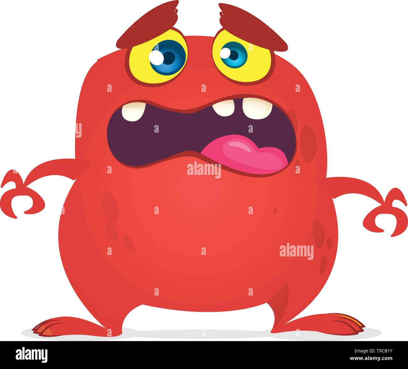 Angry cartoon red monster screanimg. Yelling angry monster expression. Halloween vector illustration - Stock Image