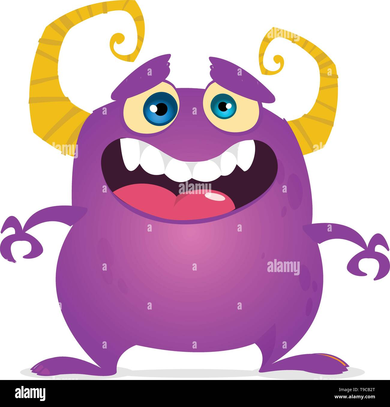 Funny cartoon monster laughing. Vector purple monster illustration. Halloween design - Stock Image