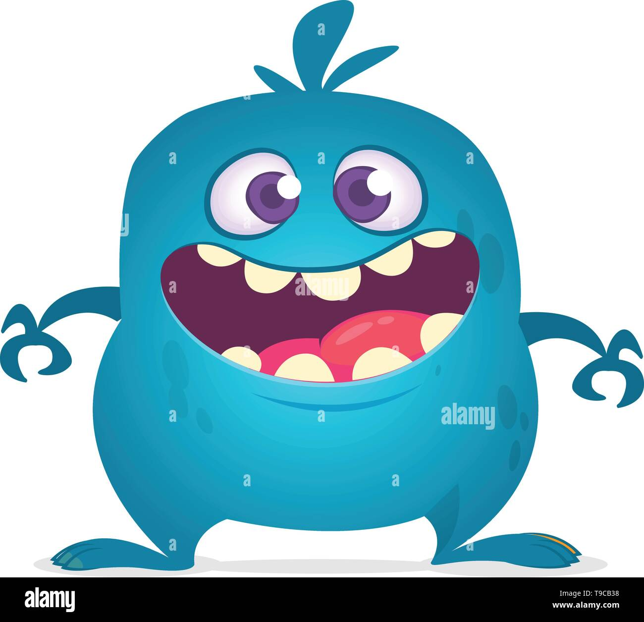 Happy cartoon monster laughing. Vector blue monster illustration. Halloween design - Stock Image