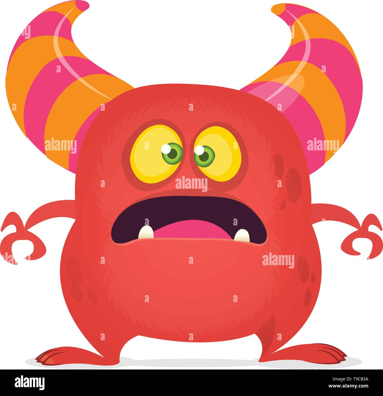 Scared cartoon monster laughing. Vector red monster illustration. Halloween design - Stock Image
