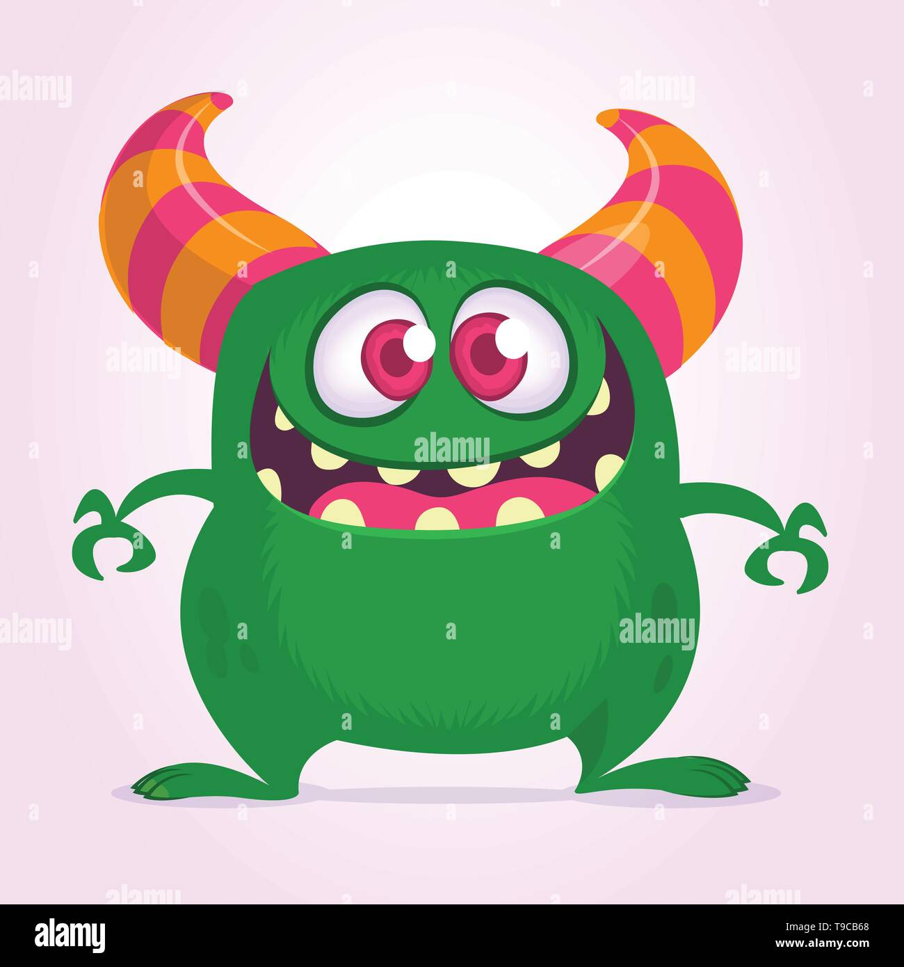 Happy cartoon monster with big mouth full of teeth. Vector green monster illustration. Halloween design - Stock Image