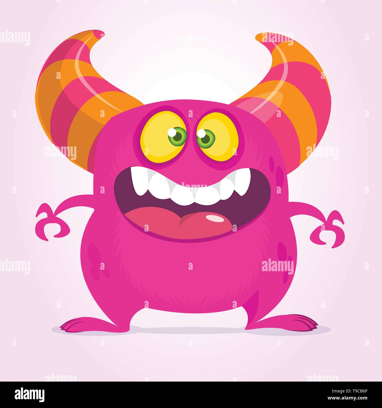 Happy cartoon monster with big mouth. Vector pink  monster illustration. Halloween design - Stock Image