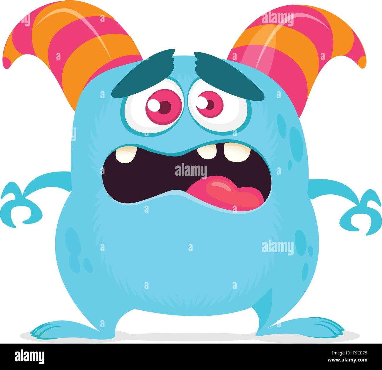 Scared cartoon monster with big mouth. Vector blue monster illustration. Halloween design - Stock Image