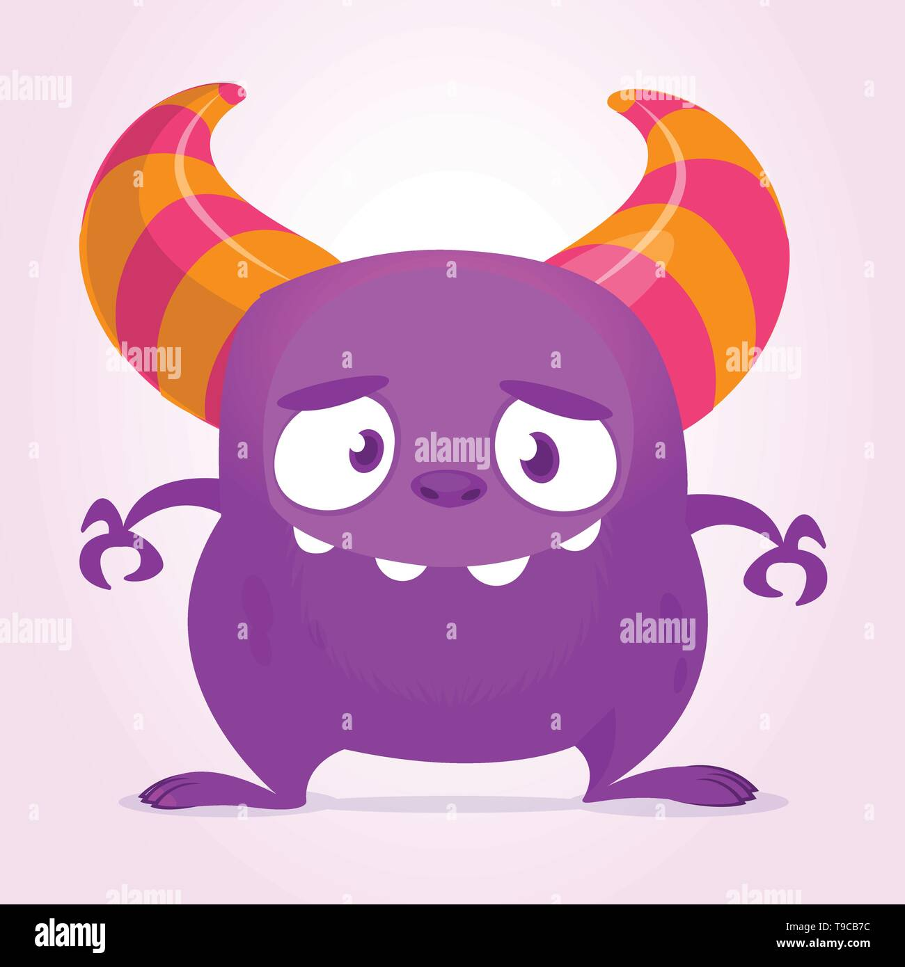 Funny cartoon monster with big mouth. Vector purple monster illustration. Halloween design - Stock Image