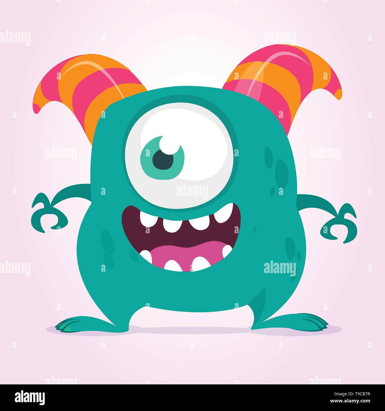Cute cartoon monster  with horns with one eye. Smiling monster emotion with big mouth. Halloween vector illustration - Stock Image