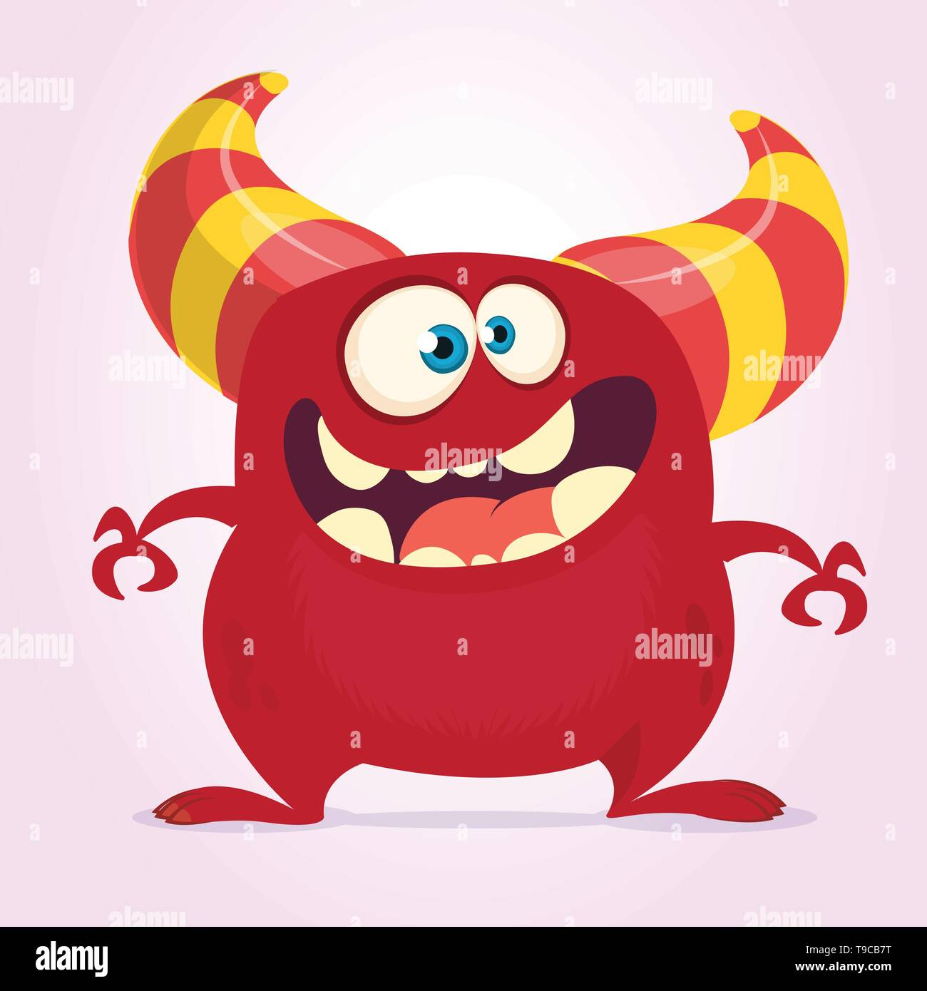 Cool cartoon monster with horns. Vector red monster illustration. Halloween design - Stock Image