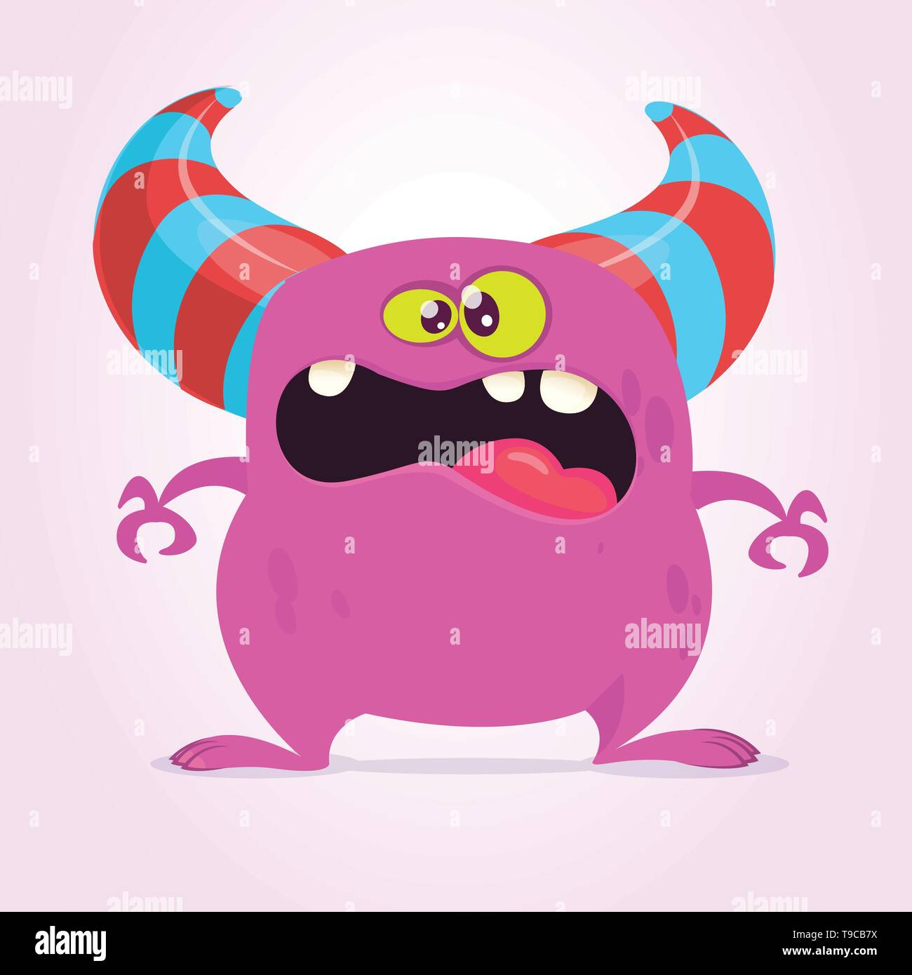 Cool cartoon monster with horns. Vector pink  monster illustration. Halloween design - Stock Image