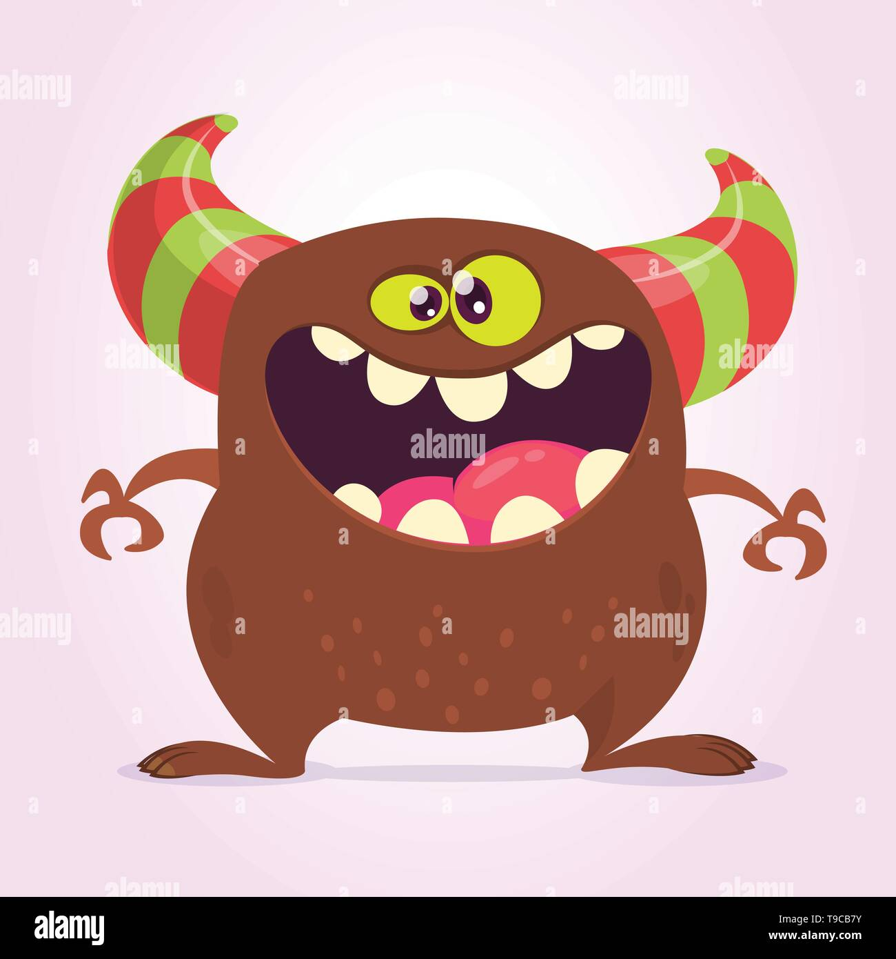 Cool cartoon monster with horns. Vector brown monster illustration. Halloween design - Stock Image