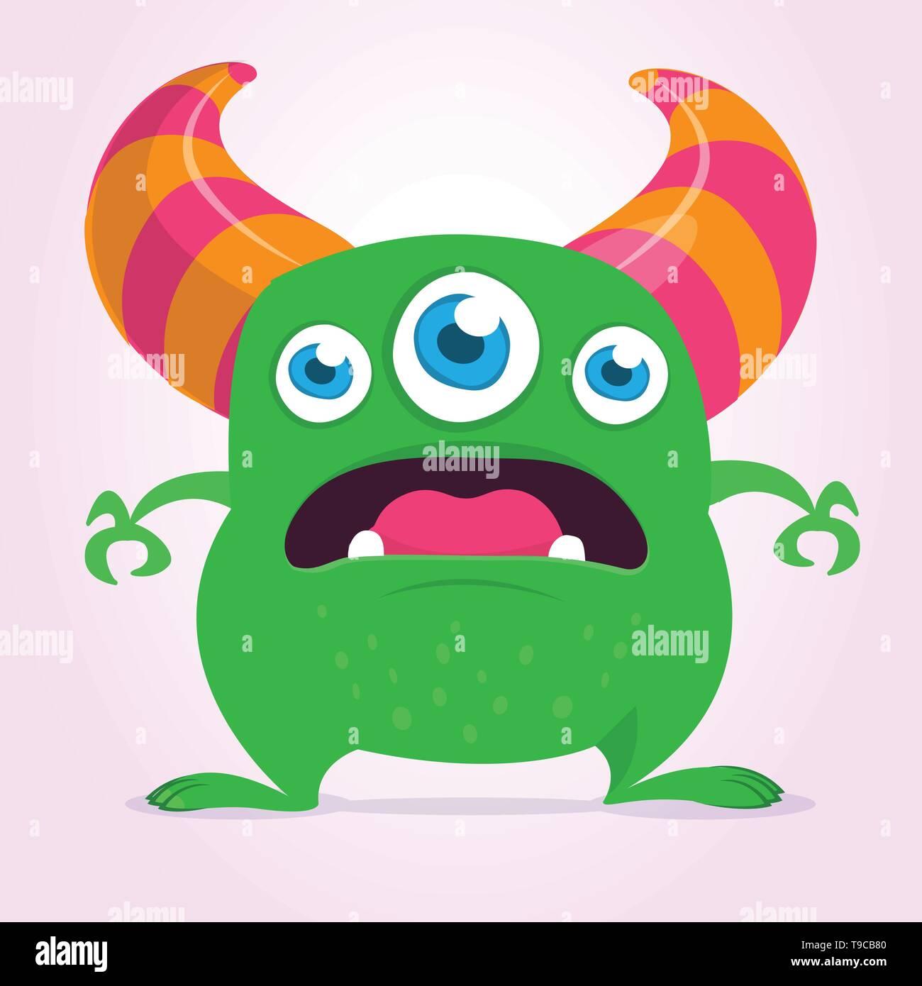 Cool cartoon monster with three eyes. Vector green monster illustration. Halloween design - Stock Image