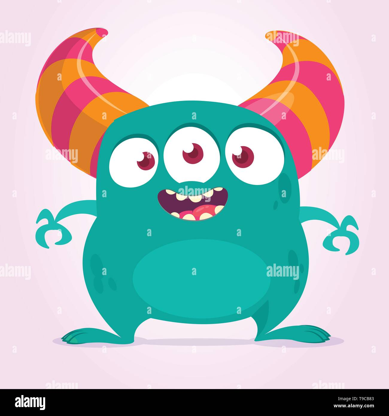 Cool cartoon monster with three eyes. Vector blue monster illustration. Halloween design - Stock Image