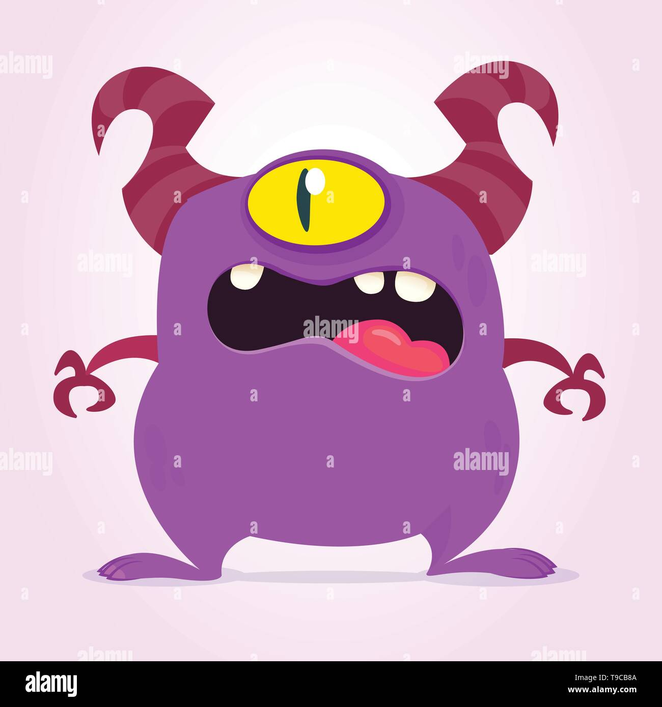 Angry cartoon monster with one eye. Vector purple monster illustration. Halloween design - Stock Image